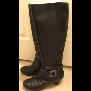 Wide calf black knee boots
